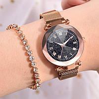 Женские часы STARRY SKY WATCH с римскими цифрами на магнитной застёжке (Золотые)