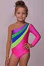 Купальник для гимнастики из бифлекса, розовый, фото 3