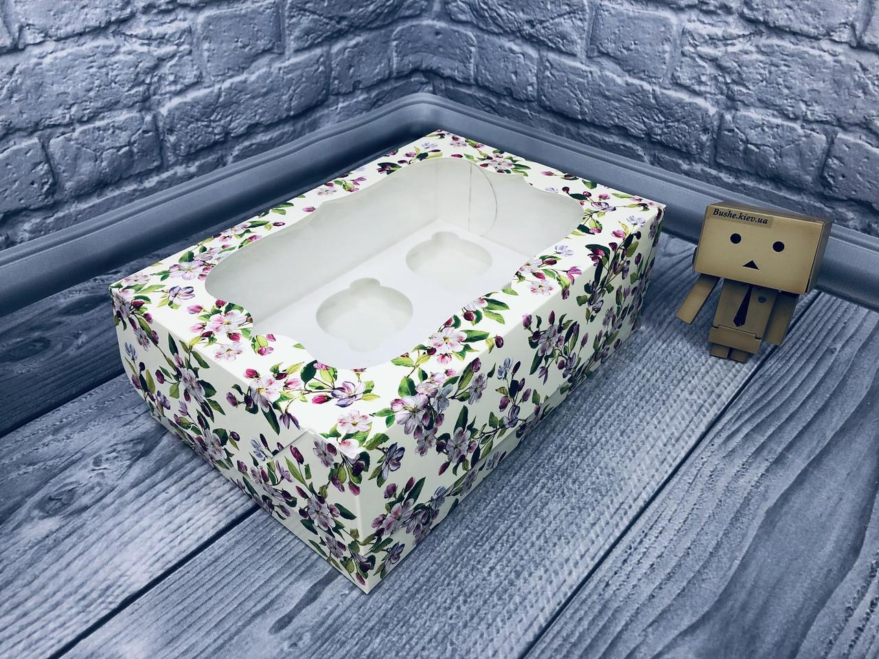 *10 шт* / Коробка для 6-ти кексов / 250х170х90 мм / печать-Весна / окно-обычн / лк / цв