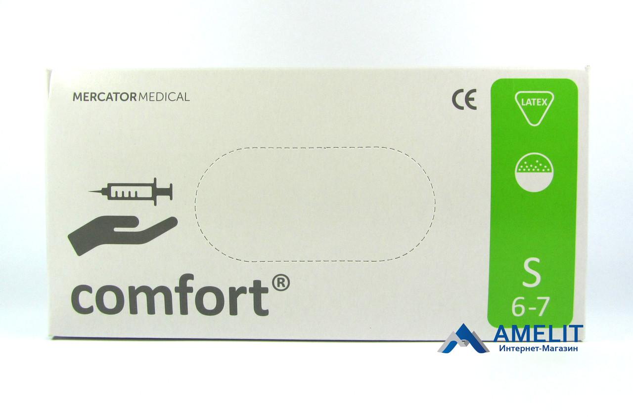Перчатки латексные Комфорт, опудренные (Comfort, Mercator Medical), белые, размер «S», 50пар/упак.