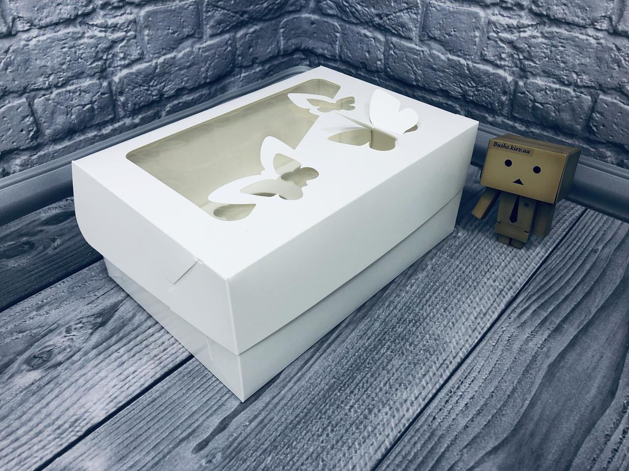 *10 шт* / Коробка для 6-ти кексов / *h=11* / 250х170х110 мм / Белая / окно-Бабочка