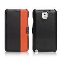 Чехол iCarer для Samsung Galaxy Note 3 Colorblock Black/Orange (side-open)
