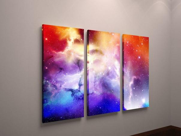 Картина модульна абстракція космос. Космічна картина, надрукована на холсті під замовлення.