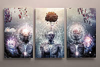 Сучасна сюрреалістична картина на холсті. абстракція на 3 модулі. Інтер'єрна картина на підрамнику.