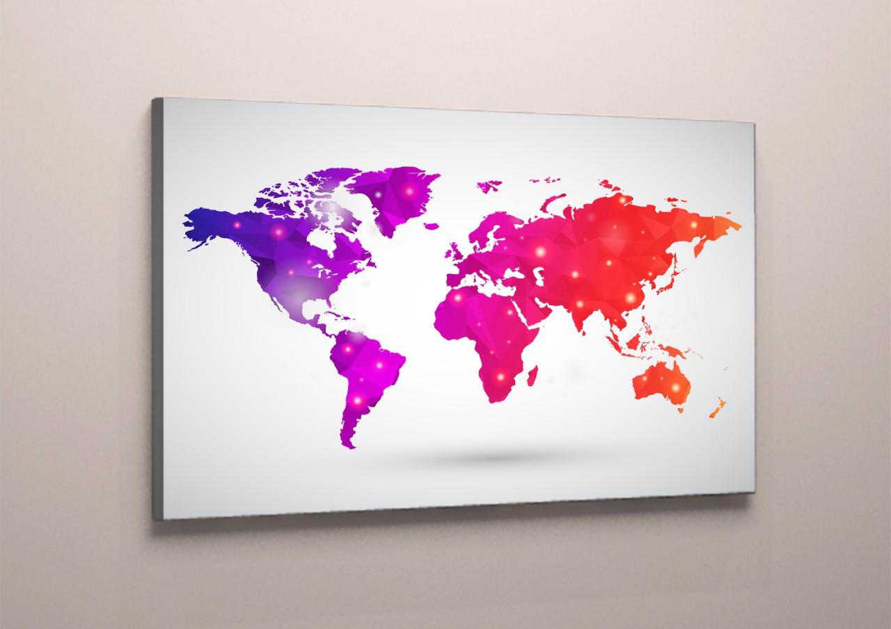 Модульная картина на холсте карта мира розовая