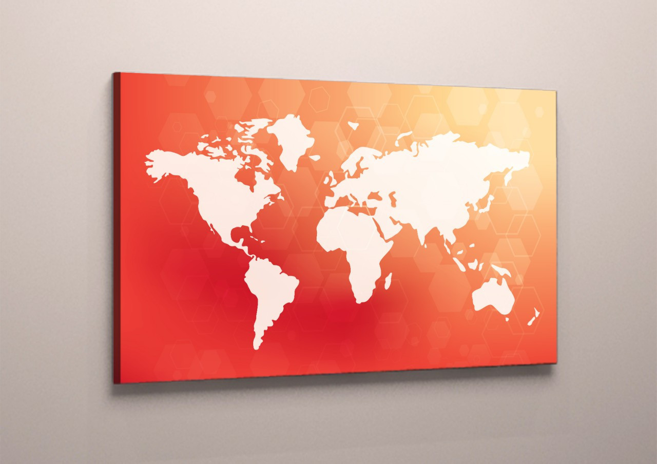 Модульная картина на холсте карта мира красно-белая