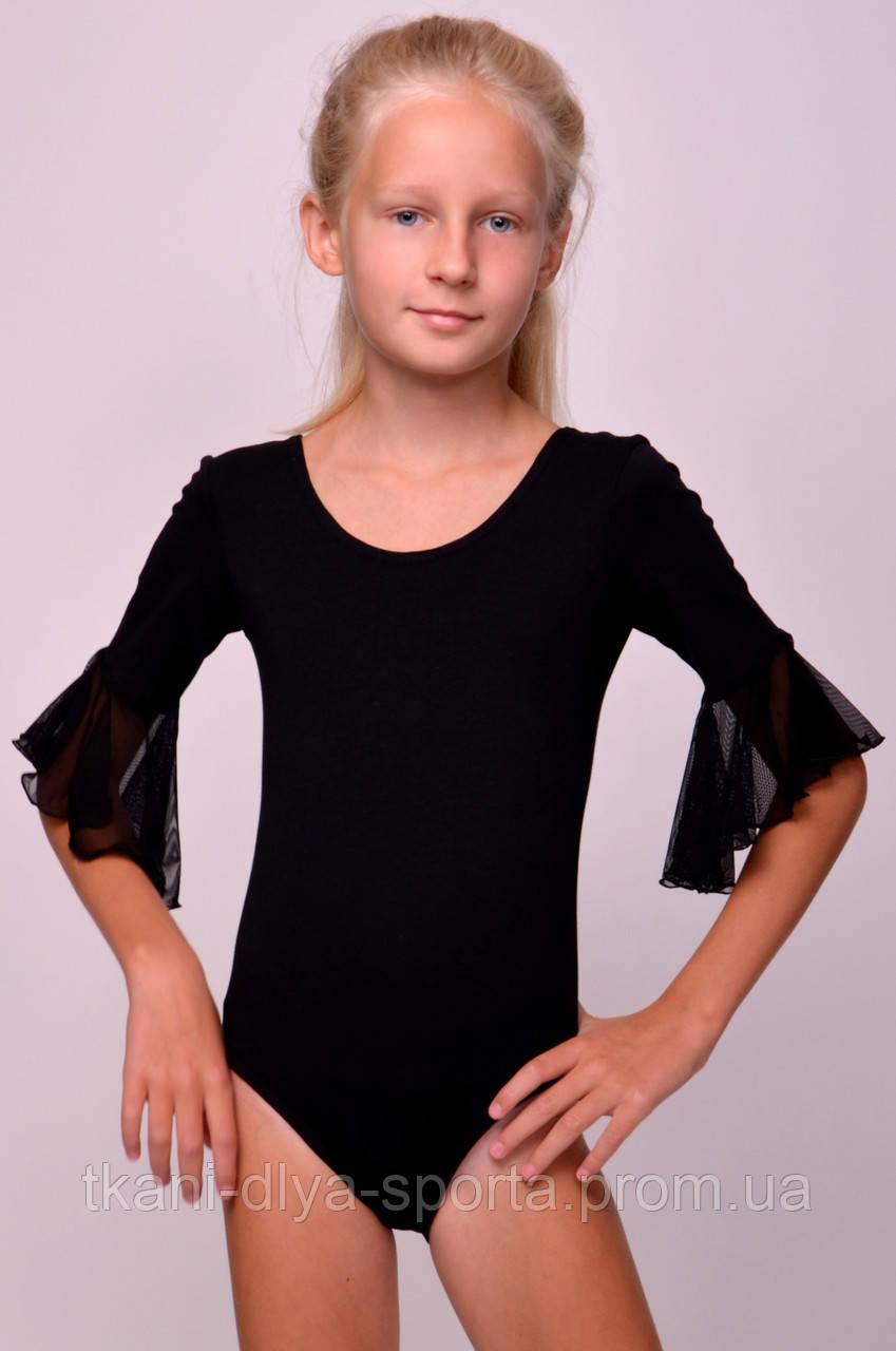 Купальник для танцев с рукавом-воланом черный