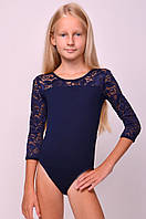 Купальник для танцев и гимнастики с кружевом темно-синий