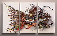Фотокартина модульная абстракция. Картина на холсте 3 модуля. Модульные картины под заказ с доставкой.
