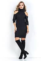 Вязаное платье с открытыми плечами ХОМУТ черное