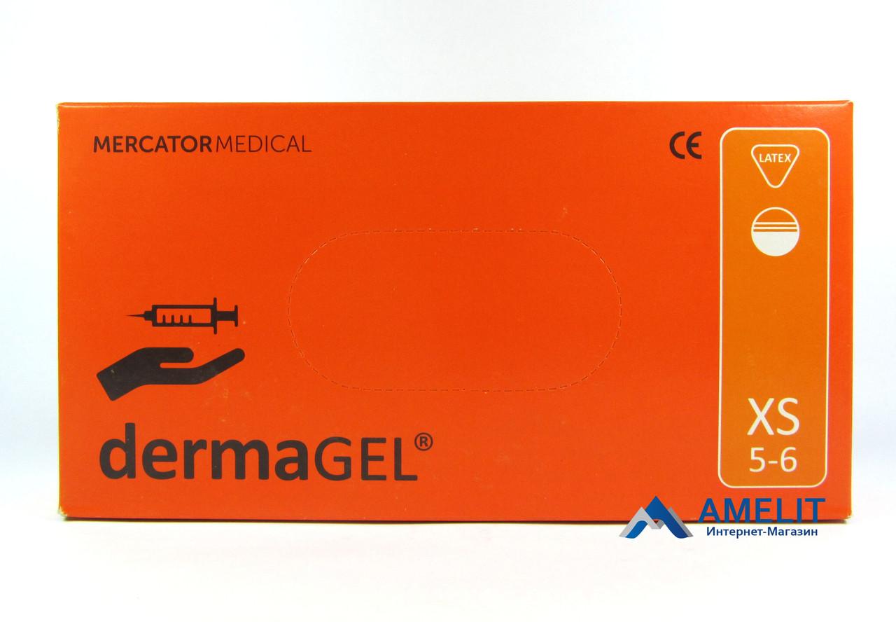 Перчатки латексные ДермаГель (DermaGEL, Mercator Medical), бежевые, размер «XS», 50пар/упак.