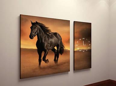 Модульная фото картина в гостинную Лошади фотокартина с часами на холсте животные постер кони холст