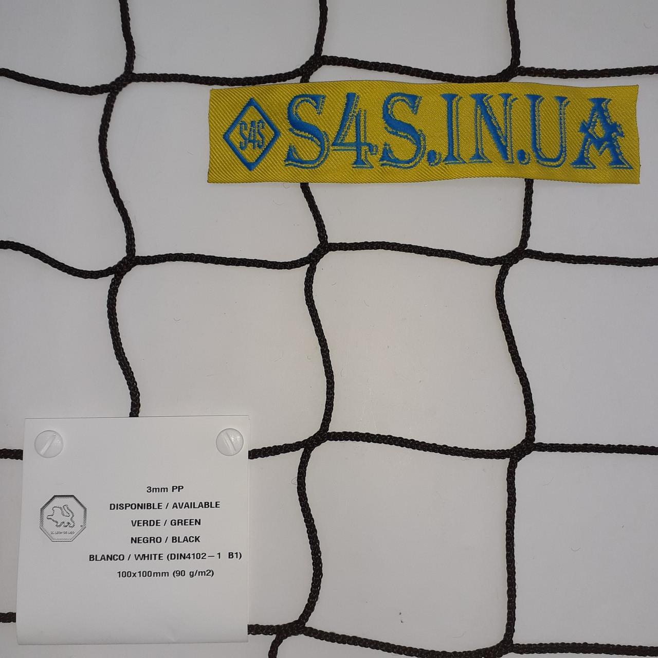 Сетка заградительная безузловая Испанская, D – 3 мм, ячейка – 10 см, черная для стадионов, спортзалов, на окна