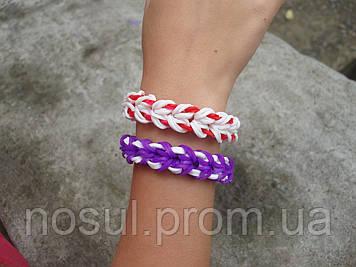 """Браслет """"Маями"""" (фиолетово-белый) Rainbow Loom Bands (#3166)"""