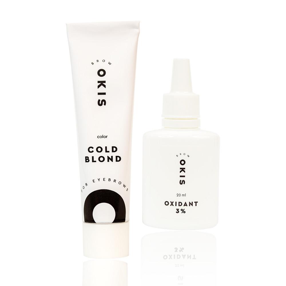 Крем-краска для бровей блонд COLD BLOND с окислителем с экстрактом хны OKIS BROW 15 мл