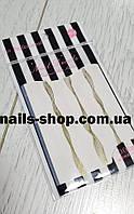 Гибкая лента-волна для дизайна ногтей (белая+золото)