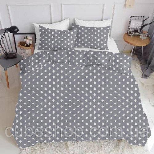 Комплект семейного постельного белья STARS BIG GREY (хлопок, ранфорс)