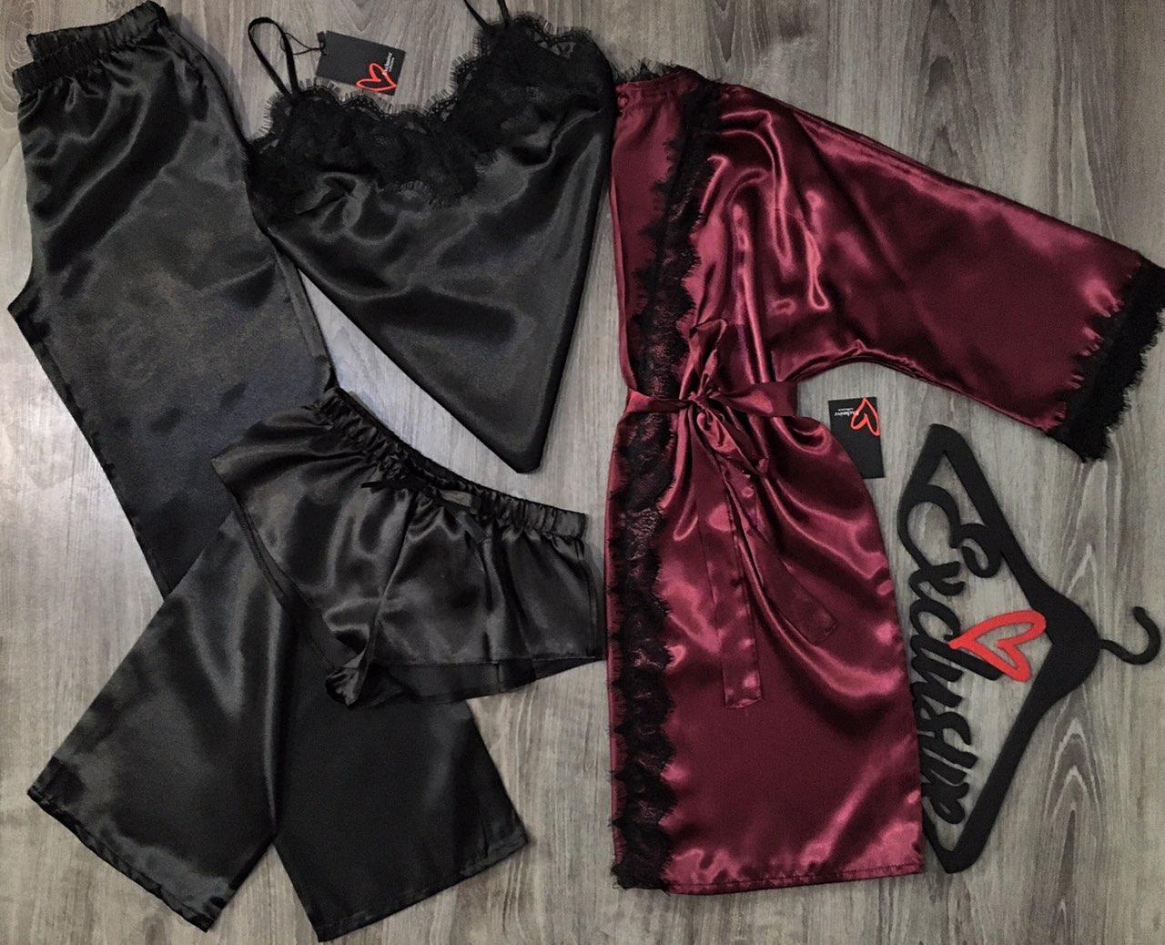 Халат+пижама(майка штаны и шорты)-комплект одежды для сна и отдыха.