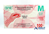 """Перчатки латексные СФМ (SFM, SFM Hospital Products), размер """"M"""", текстурированные, 50пар/упак., фото 1"""