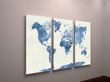 Картина модульная карта мира