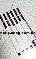 Гибкая лента-волна для дизайна ногтей (белая+серебро)