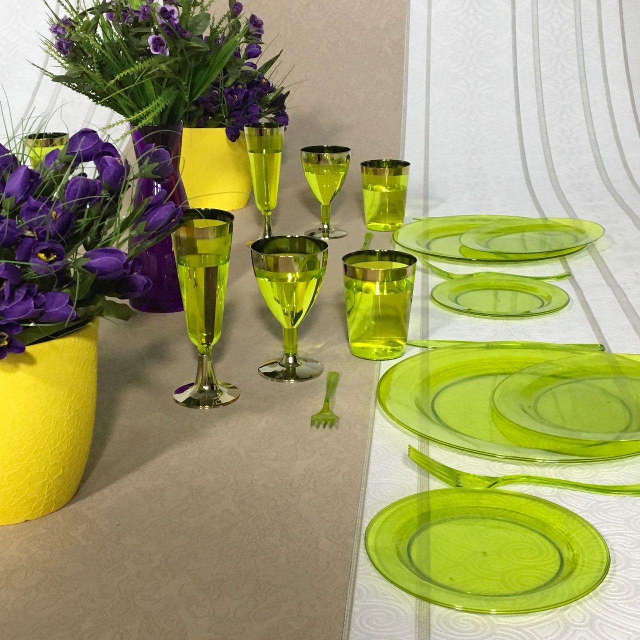 Тарелки одноразовые стекловидные красивые для банкета, презентаций, выставки, торжеств  CFP 6 шт 190 мм