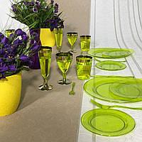 Тарелки одноразовые стекловидные красивые для банкета, презентаций, выставки, торжеств  CFP 6 шт 190 мм, фото 1
