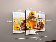 Фото картина фотокартина модульная на заказ для кухни на холсте мед натюрморт на заказ 3 модуля