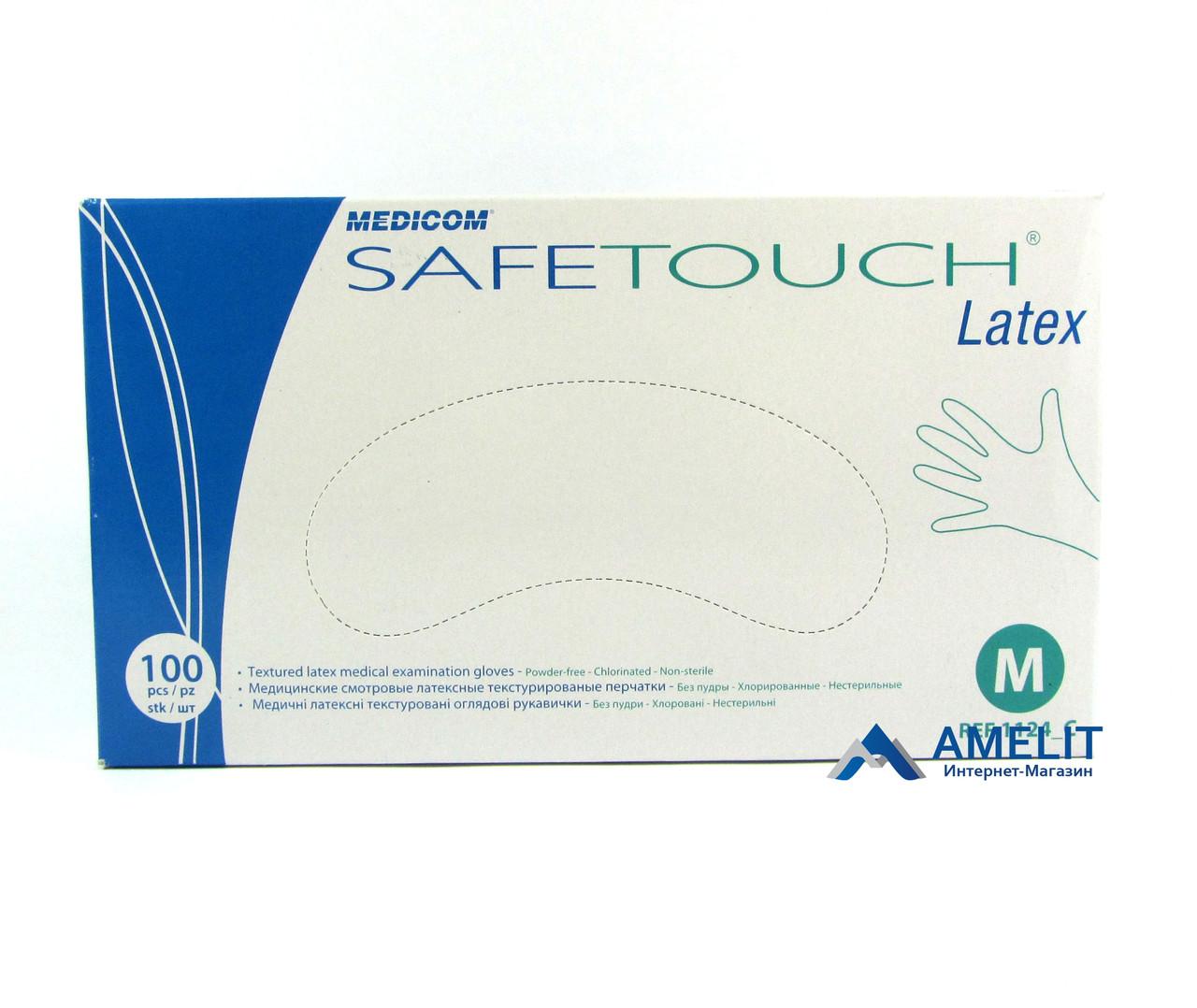 Перчатки латексные Сейф-Тач Медиком (Safe-Touch, Medicom), белые, размер «M», 50пар/упак.