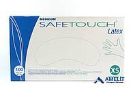 Перчатки латексные Сейф-Тач Медиком (Safe-Touch, Medicom), белые, размер «XS», 50пар/упак., фото 1