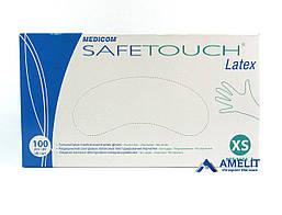 Перчатки латексные Сейф-Тач Медиком (Safe-Touch, Medicom), белые, размер «XS», 50пар/упак.