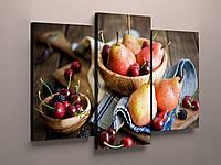 Модульная фото картина фотокартина на холсте для кухни натюрморт фрукты черешни груши холст 3 модуля