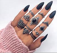 """Посеребренные кольца комплект 10 штук """"Kleopatra"""" black stone"""