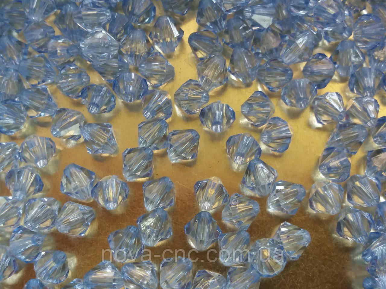 "Намистини акрил ""Биконус"" блакитний 6 мм 500 грам"