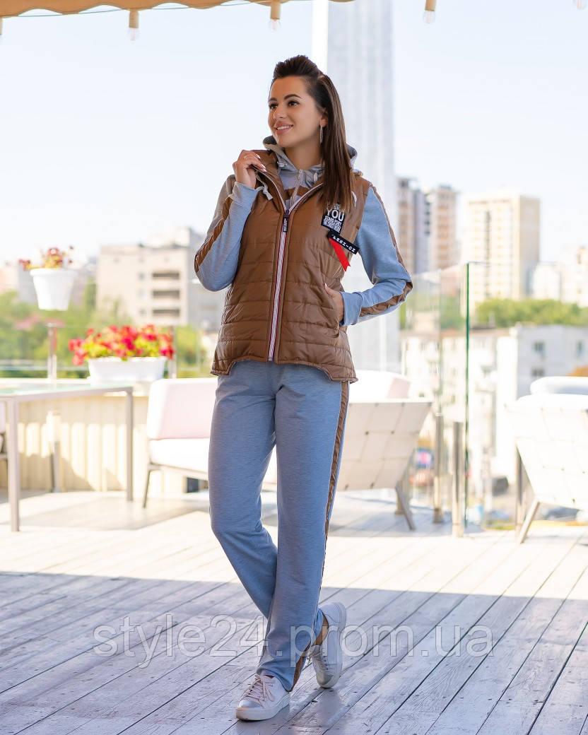 Жіночий батальний спортивний костюм з жилеткою.Р-ри 46-56