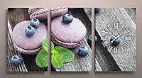 Картина модульная для кухни с часами макарони макаруны макарон
