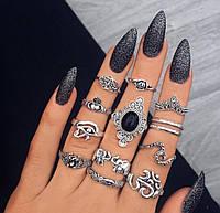 Посеребренные кольца комплект 13 штук Geruda
