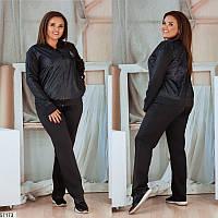 Спортивный костюм женский демисезонный плащевка+трикотаж-дайвинг больших размеров 48-58, 5 цветов