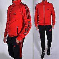 Мужской спортивный костюм Adidas (Адидас)  / трикотаж двунитка - красный