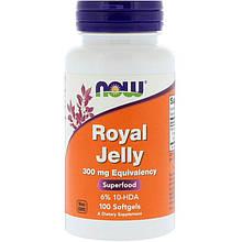 "Маточное молочко NOW Foods ""Royal Jelly"" 300 мг (100 гелевых капсул)"