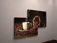 Фотокартина фото картина модульная на холсте для кухни кофе чашка зерна 3 модуля холст