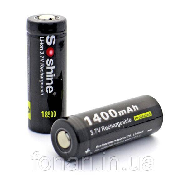 Аккумулятор Soshine 18500 Li-Ion 1400 mAh 3,7V защищенный
