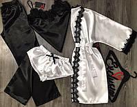 Женский комплект домашней одежды халат +пижама тройка.
