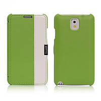 Чехол iCarer для Samsung Galaxy Note 3 Colorblock Green/White (side-open)