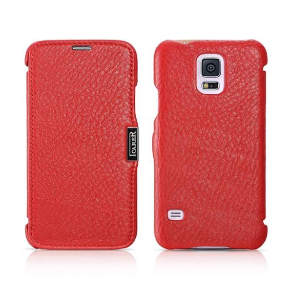 Чехол iCarer для Samsung Galaxy S5 Litchi Red (side-open)