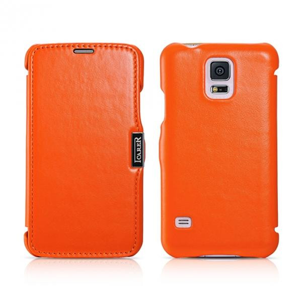 Чехол iCarer для Samsung Galaxy S5 Luxury Orange (side-open)