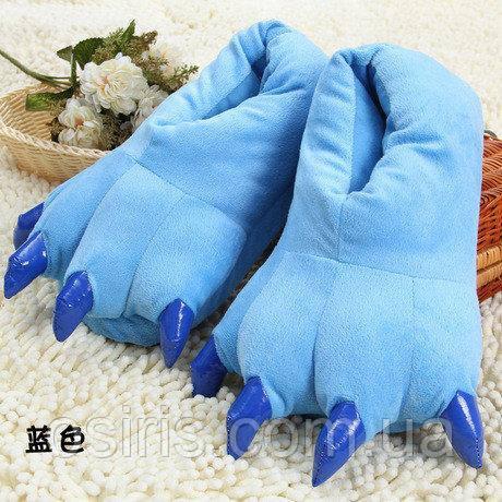 Тапки лапки детские / тапочки когти плюшевые с задниками синие, 27-33 размер