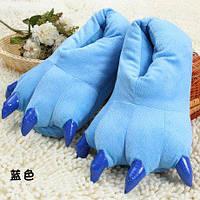 Тапки лапки детские / тапочки когти плюшевые с задниками синие, 27-33 размер, фото 1
