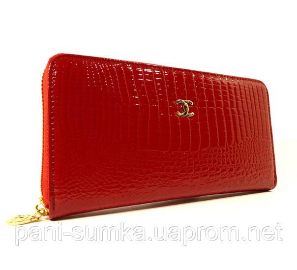 Кошелек женский кожаный на молнии Chanel 9046 красный лаковый, фото 1 17b746b8bd9