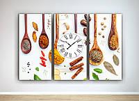 Фотокартина модульная фото картина с часами на кухню на холсте ложки специи холст картина-часы